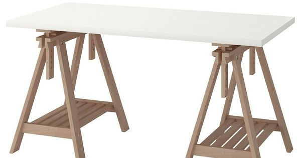 Ikea Linnmon Finnvard Trestle Desk Table White 150x75cm In 2020 Ikea Table Trestle Desk Ikea