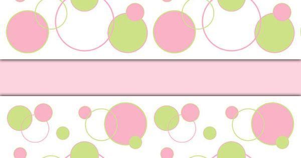 Pink And Green Polka Dot Circle Wallpaper Border Wall Art