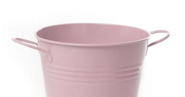 Tin Bucket W Side Handles 15 5dx12cmh Baby Pink Tin Buckets Yellow Candy Buffet Green Candy Buffet
