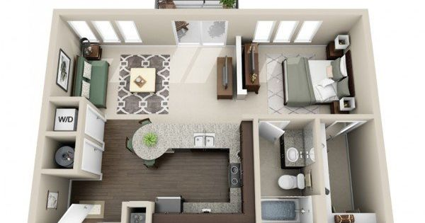 50 plans en 3d d appartement avec 1 chambres architecture - Lay outs huis idee ...