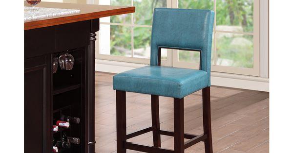 Linon Zeta Ocean Blue Fabric Stationary Counter Stool By