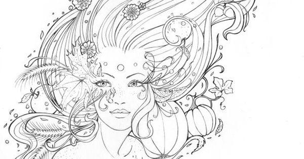 L Esprit D Automne Line Art Original Pencil Drawing On