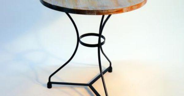 Mesa velador forjada arc con madera vieja mesas y sillas for Sillas para viejitos