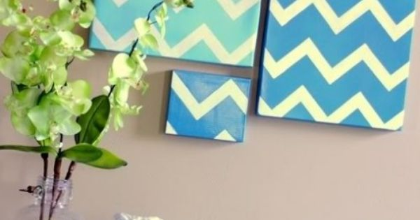 White chevron painted canvas cuadros pinterest - Cuadros para el hogar ...