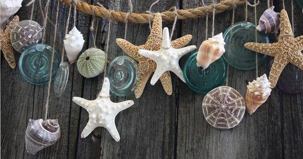 DIY Seashell Garland. sea shells