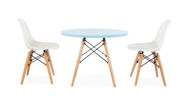 Kids Table And Chair Set Kids Eames Style Round Dowel Leg