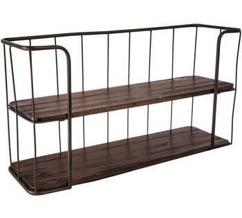 Brown Two Tiered Metal Wall Shelf In 2020 Hobby Lobby Shelves Brown Wood Hobby Lobby Decor