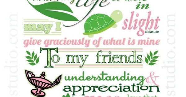 8x10 Unframed Delta Zeta Creed Illustration Print deltazeta