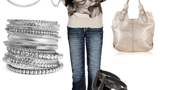 Floral top, heels, bracelets. Love.