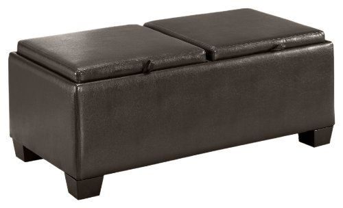 Homelegance 458b Pu Contemporary Storage Ottoman Bench With 2 Flip Top Tray Inserts Faux Dark Br Storage Ottoman Bench Brown Leather Furniture Storage Ottoman