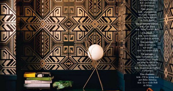 black and gold Art Deco geometric wallpaper // patterns