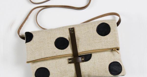 Foldover Crossbody Bag with Hand Cut Black Leather dots by MadebyHank