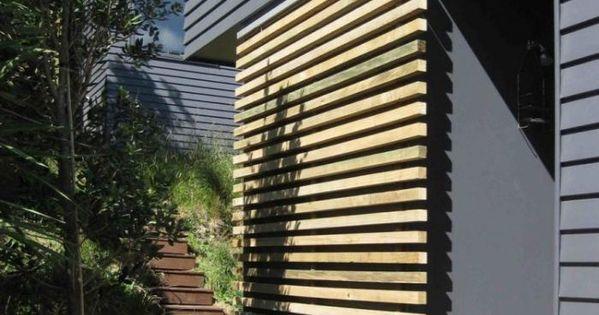 for barn doors Wood slat sliding door in New Zealand beach ...