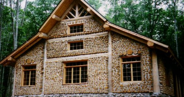 Just an amazingly beautiful cordwood house with stone for Cordwood house foundation