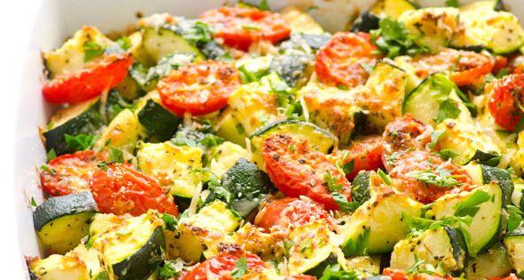 Garlic Parmesan Zucchini and Tomato Bake -- Quick and healthy zucchini casserole.