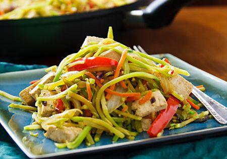 broccoli slaw vegan stirfry with tofu