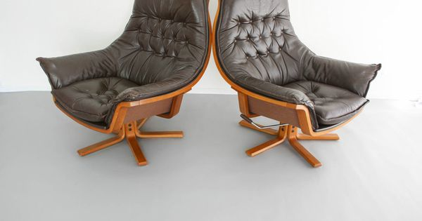 Mid Century Armchairs X2 Danish Deluxe Leather Swivel