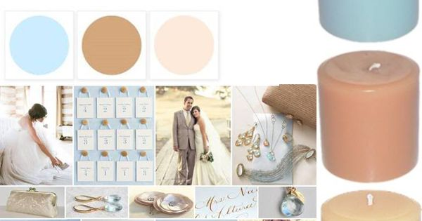 sky blue, camel & ivory color palette