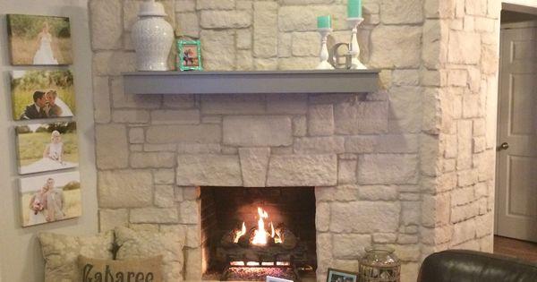 Austin stone fireplace creates a warm home with off white for Austin stone fireplace