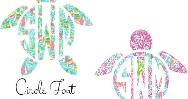 Lilly Pulitzer Monogram Turtle Decal By Southernideology
