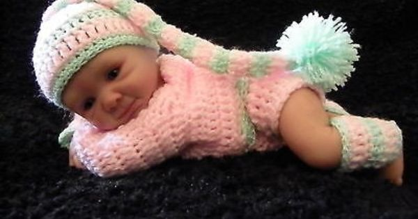 Handmade Crochet Outfit Clothes For 10 Inch Ooak Baby Or Preemie Reborn Doll Baby Doll Clothes Reborn Dolls Crochet Doll Clothes