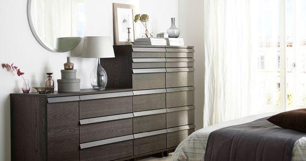 ein schlafzimmer mit oppland kommode mit 3 schubladen und 1 t r und zwei oppland kommoden mit 6. Black Bedroom Furniture Sets. Home Design Ideas