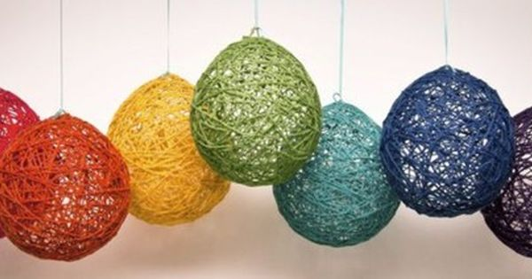 Wrap yarn around balloon. Dip balloon in watered down glue. Let dry, pop balloon. | See more about Yarns and Balloon.