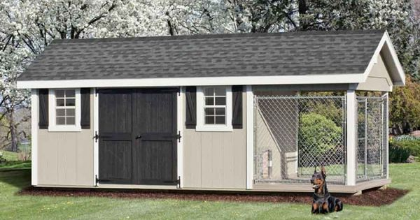8 x 20 ft amish made large dog kennel and shed combo for Dog kennel shed combo plans