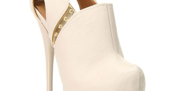 White/Gold heel booties