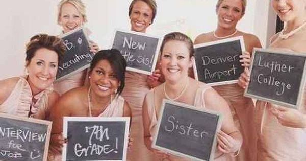 A cute photo op with your bridesmaids that lets you reminisce how far in your friendship you've come.