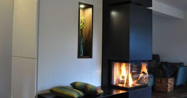 moderner kamin mit kleine sitzbank und drei glasseiten kamin pinterest fire places. Black Bedroom Furniture Sets. Home Design Ideas