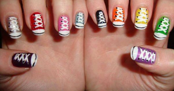 converse nails... I wouldn't do it, but it different and cute for