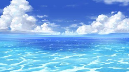 Ocean Scenery Beautiful Cloud Horizon Blue Pretty Beauty Anime Water Scenic Landscape Nice Anime Scenery Wallpaper Anime Scenery Anime Background
