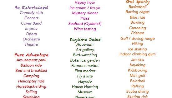 Dating list ideas
