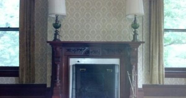 Another Beautiful Working Fireplace Placed Between Two Original Glass Windows Mcfadden Mansion Fireplace Interior And Exterior Interior