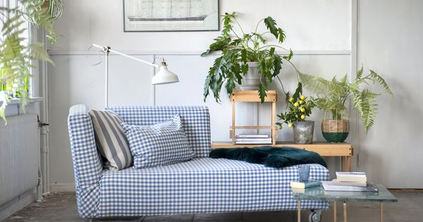 Simple chic falsterbo chaise lounge cover in gingham for Blue and white striped chaise lounge cushions