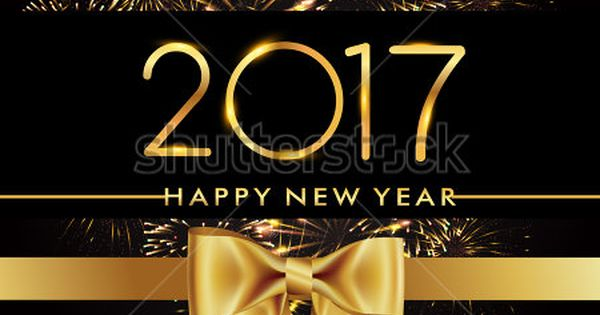 Happy New Year 2017 with fireworks and golden ribbon ... Quotes Backgrounds For Facebook