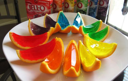 JellO-Shots.......Cut an Orange (or lemon or lime) in HALF and gut it.