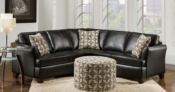 Simmons 2061 urban leather sectional round ottoman living room set