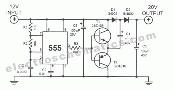 555 voltage doubler circuit schematic