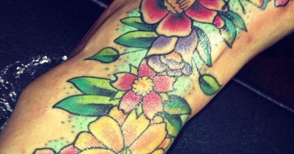 Blac chyna t a t t o o s pinterest flower for Blac chyna leg tattoo
