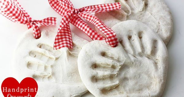 santa salt dough ornament handprint | ... finished they each have their