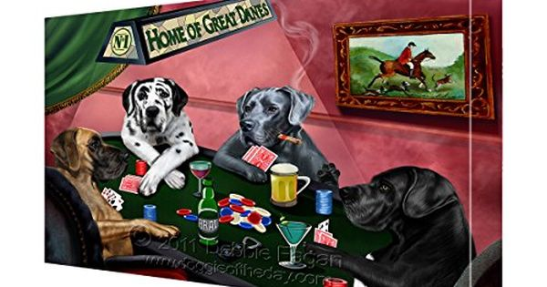 House Of Great Dane Dogs Playing Poker Canvas 8x10 Dogg