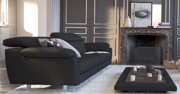 Canap 3 places avec t ti res relevables structure en for Monsieur meuble canape tissus