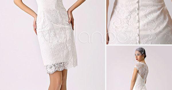 Sch nes etui brautkleid spitze in elfenbeinfarbe hochzeitskleid kurz standesamtkleid milanoo - Milanoo abendkleider ...