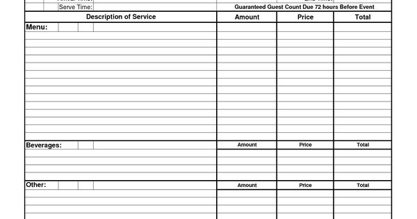 Free Downloadable Catering Contracts Forms : Catering ...