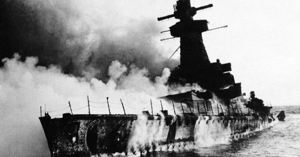 German Battleship Admiral Graf Spee In Flames After Being Scuttled