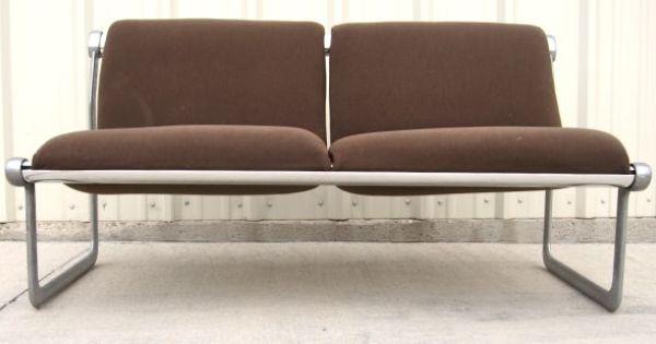 Knoll Sling Loveseat W Wool Fabric Aluminum Frame 695 Love Seat Furniture