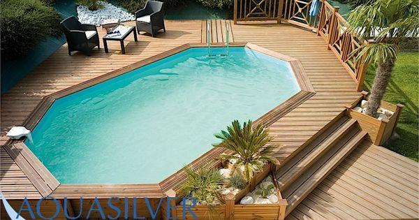 Opbouw zwembad mooi afgewerkt in een houten platteu zwembaden pinterest zwembaden houten - Deco tuin met zwembad ...