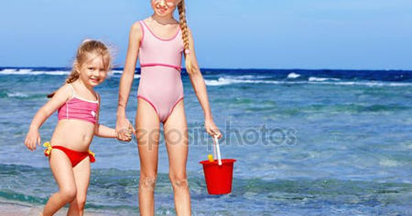 kids cameltoe on the beach  Alamy